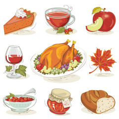 Set of hand-drawn Thanksgiving Day meal Design elements in Vintage style isolated on white background