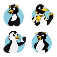 Illustration set with different penguins, royal and emperor, isolated on a white background