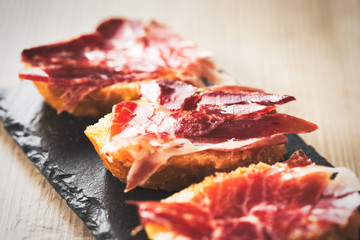 Jamon iberico tapas, vintage food edition