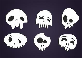 set of vector cartoon skulls