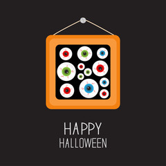 Picture frame hanging on the wall Eyeballs with bloody streaks. Happy Halloween card. Balck background Flat design.
