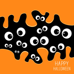 Eyes Halloween card. Spooky background Flat design.