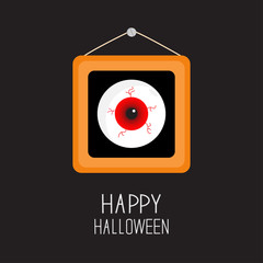 Picture frame hanging on the wall Red eyeball with bloody streaks. Happy Halloween card. Balck background Flat design.