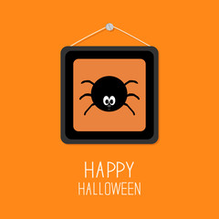 Spider in the picture frame. Happy Halloween card. Orange background Flat design