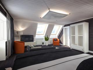 bedroom in the attic black-white-red 3D rendering