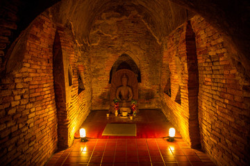 Buddha in a temple tunnel