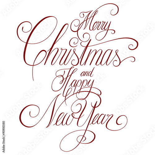 Hand lettering, Merry Christmas and Happy New Year, handwritten ...