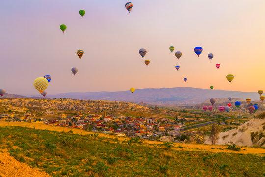 Hot air balloon flying in Cappadocia, Turkey