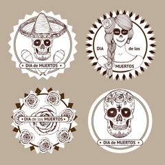 Sketch mexican dia de los muertos set of stickers