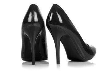 Wall Mural - Black high heel shoes. isolated on white. with clipping path.