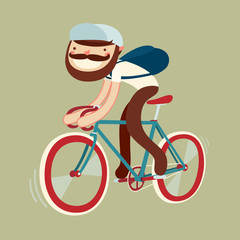 stylish character on bike. beardy bicycle rider. vector illustration