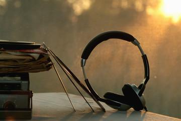 retro vinyl record player headphones