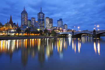 Skyline of Melbourne, Australia across the Yarra River at night