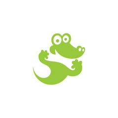 Green Crocodile icon. Vector Illustration.
