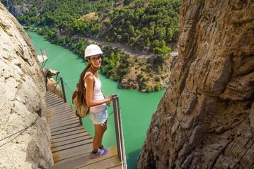 Woman hiking in mountainous area