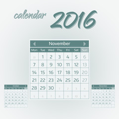 November 2016. Simple european calendar for 2016 year one month grid. Vector illustration.