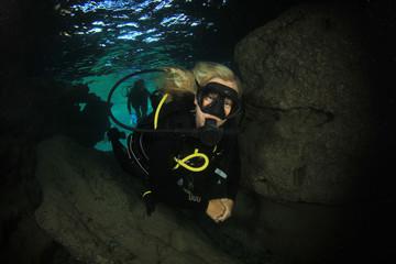Beautiful woman scuba diver