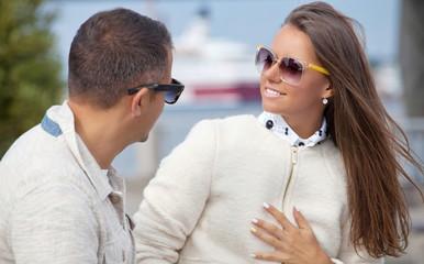 Beautiful couple talking intimately