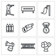 Biathlon icons set. Vector Illustration