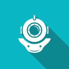 Retro diving helmet. Vector illustration
