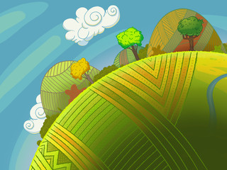 Round green hills with trees and sky with clouds. Cartoon stylish background raster illustration.