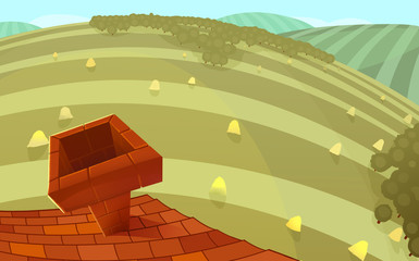 Red tiles roof with a chimney and round hills in the background. Cartoon stylish background raster illustration.