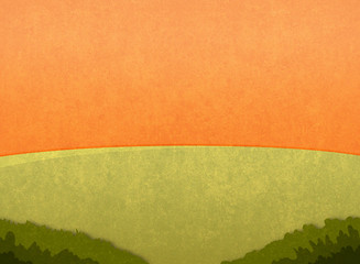 Green meadow in the sunset. Cartoon stylish background raster illustration.