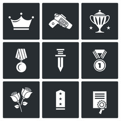 Reward icons. Vector Illustration.