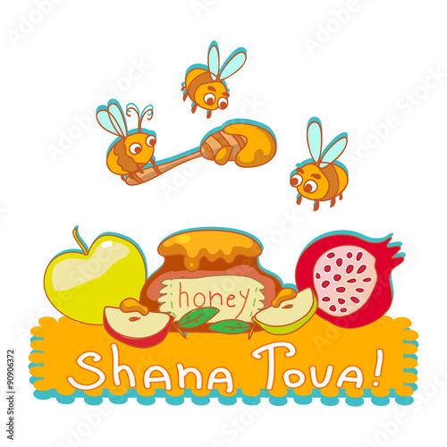 Shana tova greeting card cartoon illustration of bees honey jar shana tova greeting card cartoon illustration of bees honey jar pomegranate and apple m4hsunfo