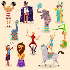 Circus vintage pictograms set arrangement