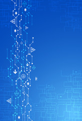 Abstract blue digital communication technology background.