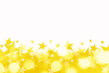 Shiny background of golden bokeh lights with stars isolated on white