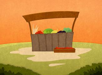 Farm goods market. Selling fruits and vegetables. Cartoon stylish background raster illustration.