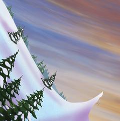 Snow slide with springboard and fir trees. Beautiful landscape. Digital raster illustration.