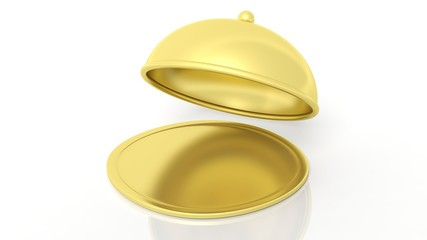 Gold covered dish,isolated on white background.