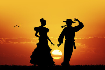 Flamenco at sunset