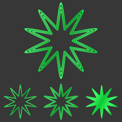 Green line star logo design set