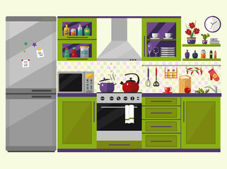 Green kitchen interior with utensils, food and devices. Including fridge, oven, microwave, kettle, pot. Flat style icons and illustration.