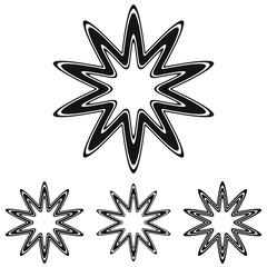 Black line star logo design set