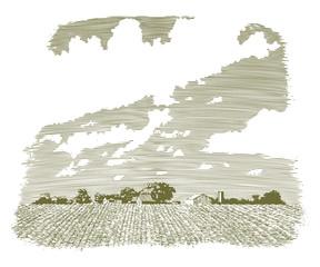 Woodcut Kansas Farm