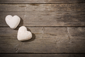 Heart of the cookie on wooden background