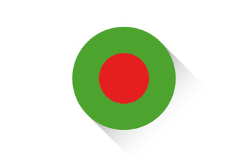 Round flag with shadow of Bangladesh