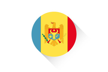 Round flag with shadow of Moldova