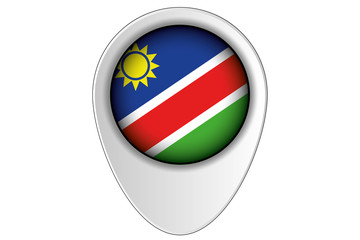 3D Map Pointer Flag Illustration of the country of  Namibia