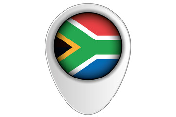 3D Map Pointer Flag Illustration of the country of  South Africa
