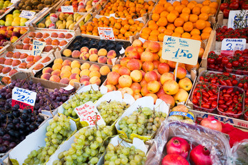 Fruit market with colorful fruits and vegetables
