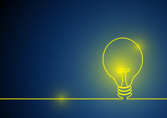 Vector : Yellow lightbulb with line on blue background
