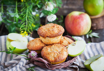 Fresh homemade delicious apple muffins