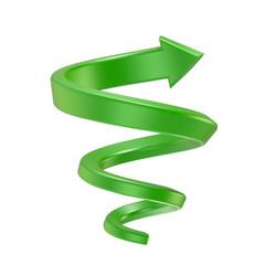 Fototapeten Spirale Green spiral arrow. Side view. 3D render illustration isolated on white background