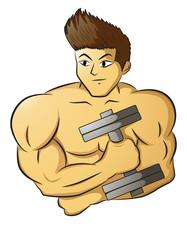 Male Bodybuilder holding dumbbell.zip